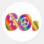 signo de la paz 60s etiqueta redonda