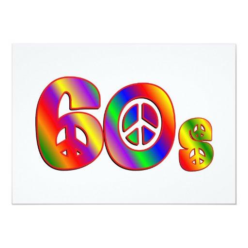 signo de la paz 60s invitación 12,7 x 17,8 cm