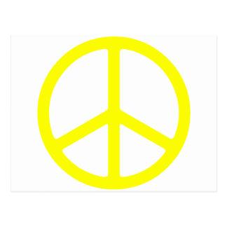 Signo de la paz amarillo fino tarjetas postales