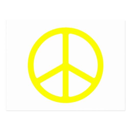 Signo de la paz amarillo fino postal