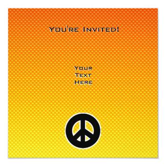 Signo de la paz amarillo-naranja invitación 13,3 cm x 13,3cm