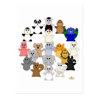 Signo de la paz animal Huggable Postal