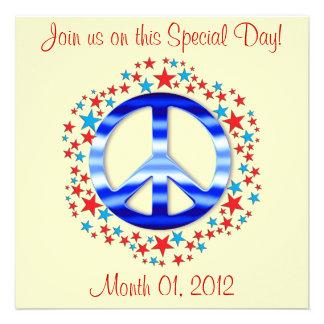 Signo de la paz azul con las invitaciones de las e invitaciones personalizada