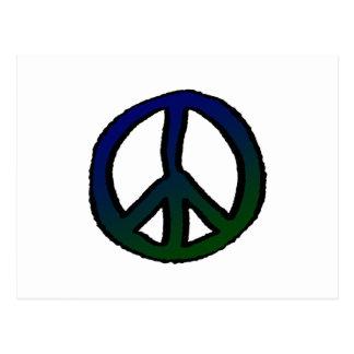 Signo de la paz azul y verde postal