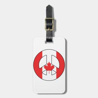 Signo de la paz canadiense etiquetas para maletas