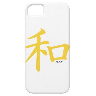 Signo de la paz chino ambarino amarillo iPhone 5 carcasas