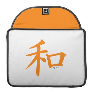 Signo de la paz chino anaranjado fundas macbook pro