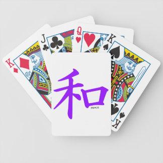 Signo de la paz chino púrpura violeta baraja cartas de poker