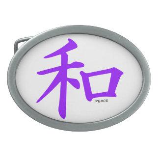 Signo de la paz chino púrpura violeta hebilla de cinturón oval