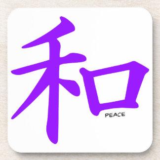 Signo de la paz chino púrpura violeta posavasos de bebidas