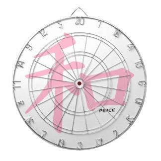 Signo de la paz chino rosa claro tablero dardos