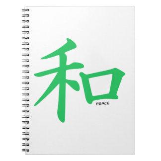 Signo de la paz chino verde de Kelly Libreta