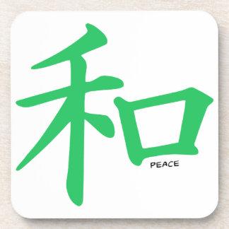 Signo de la paz chino verde de Kelly Posavasos De Bebidas