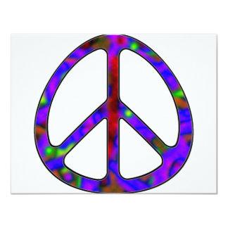signo de la paz colorido invitación 10,8 x 13,9 cm