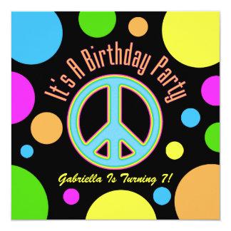 Signo de la paz colorido: Invitaciones de la Invitación 13,3 Cm X 13,3cm