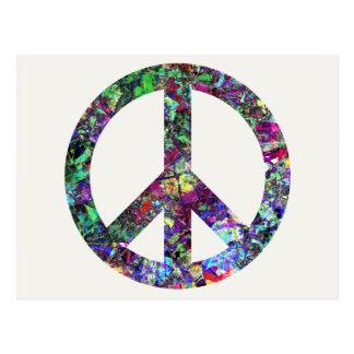Signo de la paz colorido tarjetas postales
