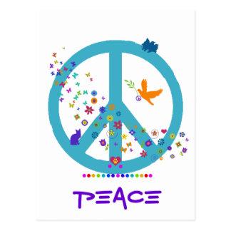 Signo de la paz con colores del arco iris postal