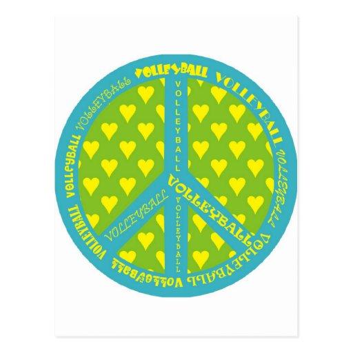 Signo de la paz con voleibol en marco tarjeta postal