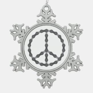 Signo de la paz de cadena adorno de peltre en forma de copo de nieve