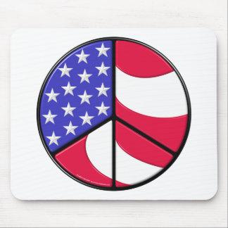 Signo de la paz de la bandera americana tapete de ratón