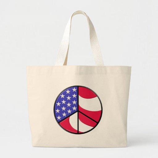 Signo de la paz de la bandera americana bolsas