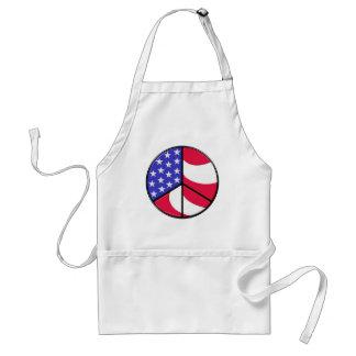 Signo de la paz de la bandera americana delantal
