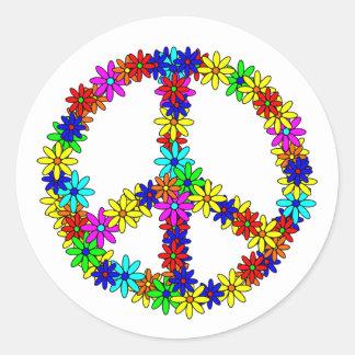 Signo de la paz de la flor del amor pegatina redonda