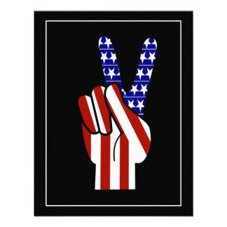 Signo de la paz de la mano - blanco y azul rojos