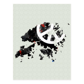 Signo de la paz de moda de Hong Kong con el mapa d Postal