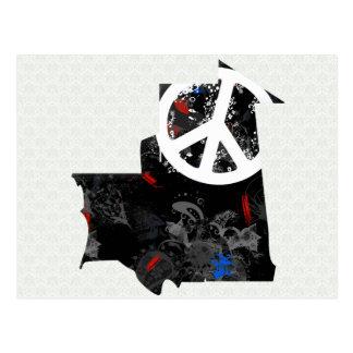 Signo de la paz de moda de Mauritania con el mapa  Postal