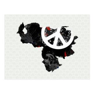 Signo de la paz de moda de Venezuela con el mapa v Postal