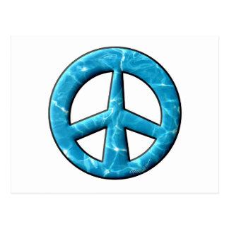 Signo de la paz del agua azul postal