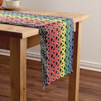 Signo de la paz del arco iris sobre negro camino de mesa