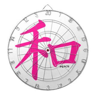 Signo de la paz del chino de las rosas fuertes tablero de dardos
