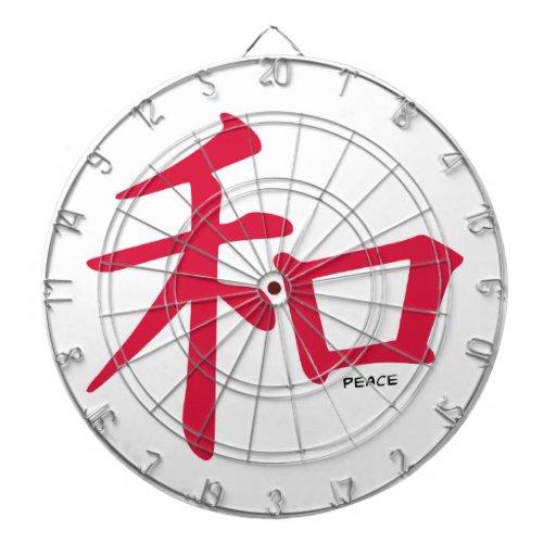 Signo de la paz del chino del rojo carmesí tablero dardos