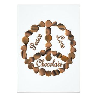 Signo de la paz del chocolate invitación 12,7 x 17,8 cm