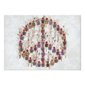 Signo de la paz del escarabajo invitación 12,7 x 17,8 cm
