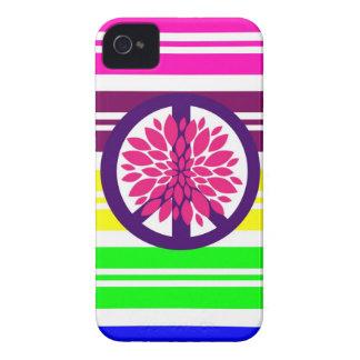 Signo de la paz del flower power del Hippie en iPhone 4 Cobertura