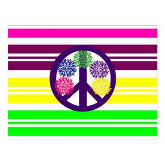 Signo de la paz del flower power del Hippie en Postal