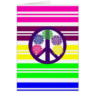 Signo de la paz del flower power del Hippie en Tarjeta De Felicitación