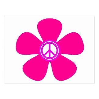 Signo de la paz del flower power postal