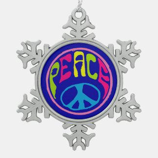 Signo de la paz del Hippie Adorno De Peltre En Forma De Copo De Nieve