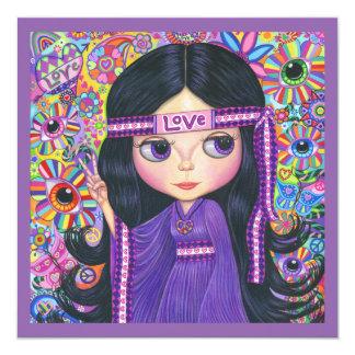 Signo de la paz del niño de flor del chica del invitación 13,3 cm x 13,3cm