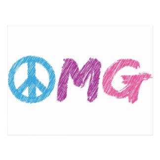 signo de la paz del omg tarjeta postal