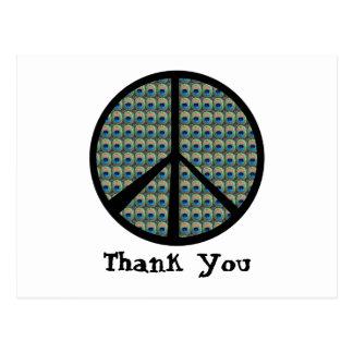 Signo de la paz del pavo real postales