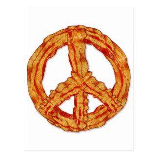 Signo de la paz del símbolo de paz del tocino postal