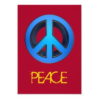 Signo de la paz en azul invitación 12,7 x 17,8 cm
