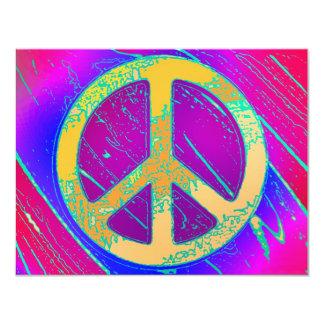 ¡Signo de la paz Estupendo-Psicodélico! Invitación 10,8 X 13,9 Cm