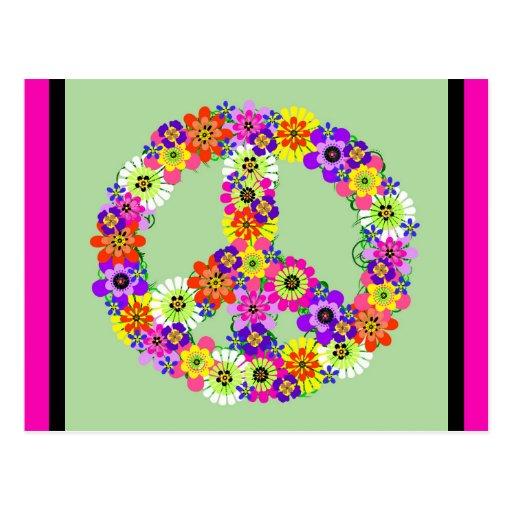 Signo de la paz floral con la frontera fucsia y ne tarjeta postal