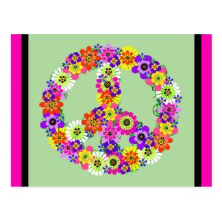 Signo de la paz floral con la frontera fucsia y postal